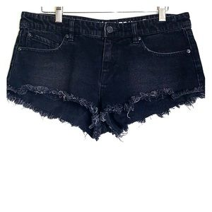 VOLCOM • Black Ripped Cut Off Denim Micro Shorts